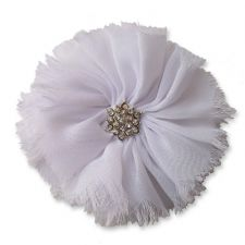 8cm Frayed Diamante WHITE Fabric Flower Applique